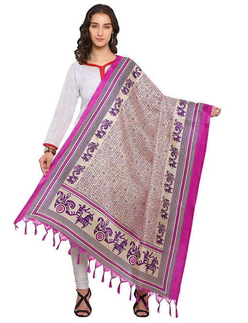 Cream, Pink Color Bhagalpuri Dupatta only in Bigswipe