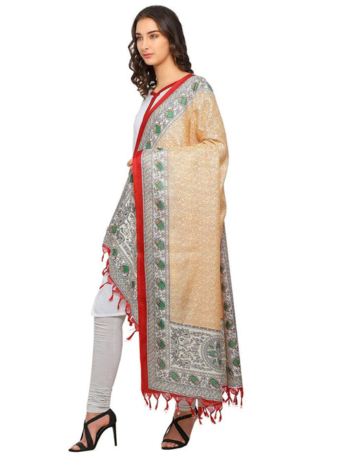 Cream, Multi Color Bhagalpuri Dupatta only in Bigswipe