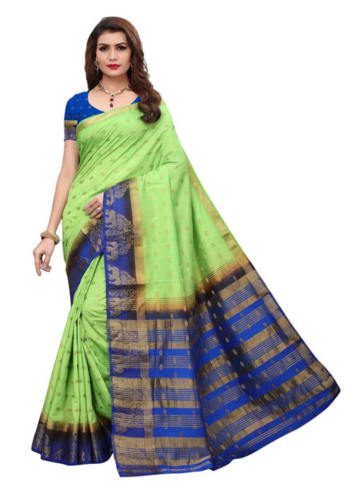Green Blue Color Jacquard Tussar Silk Saree With Blouse only in Bigswipe