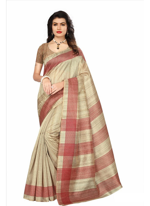 Light Brown Color Printed Bhagalpuri Silk Saree With Blouse only in Bigswipe