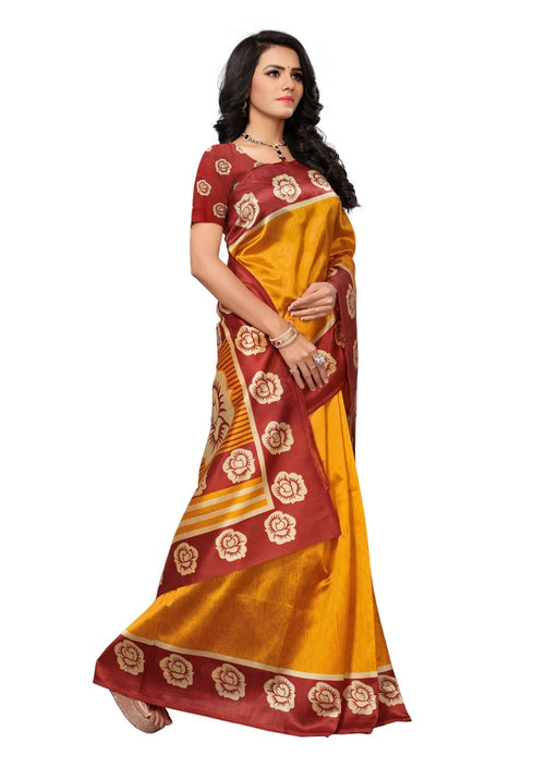 Golden Color Printed Mysore kalamkari Silk Saree With Blouse