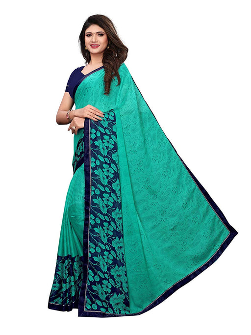 Turquoise, Multi Color Chiffon Saree