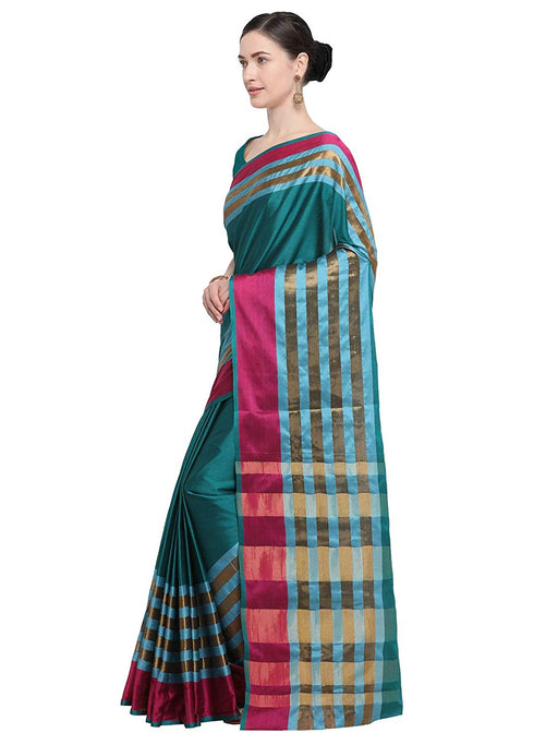 Turquoise, Magenta Color Poly Silk Saree