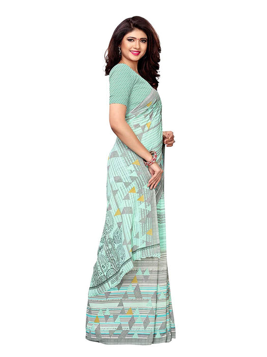 Turquoise, Off White Color Crepe Saree