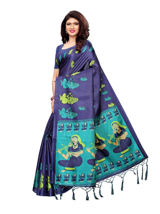 Navy Blue, Turquoise Color Art Silk Saree only in Bigswipe