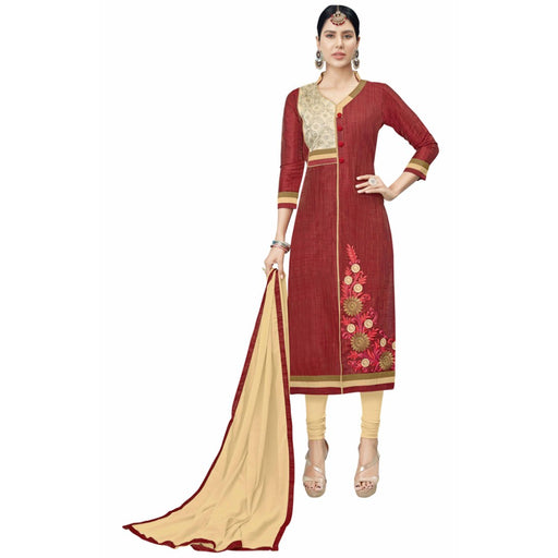 Cotton Silk Fabric Maroon Color Dress Material only in Bigswipe