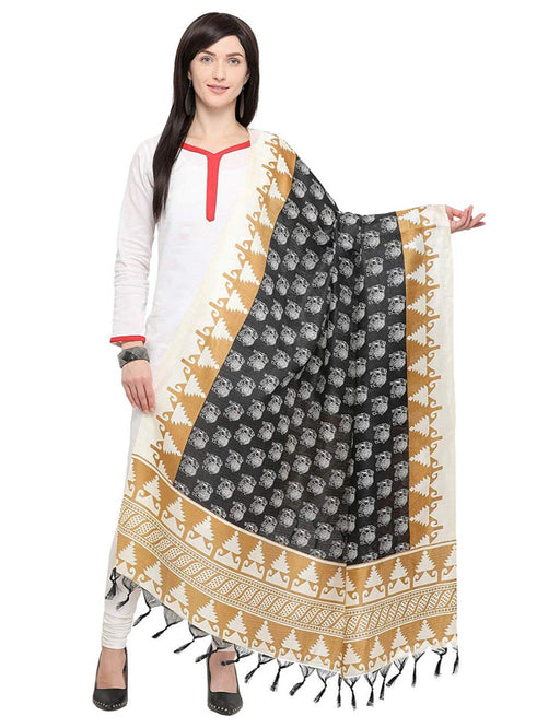 Beige, Black, White Color Bhagalpui Silk Dupatta only in Bigswipe