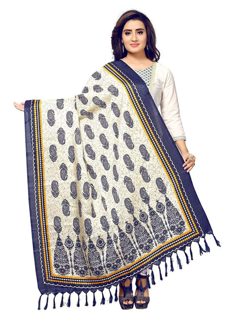 Off White, Black Color Bhagalpuri Silk Dupatta only in Bigswipe
