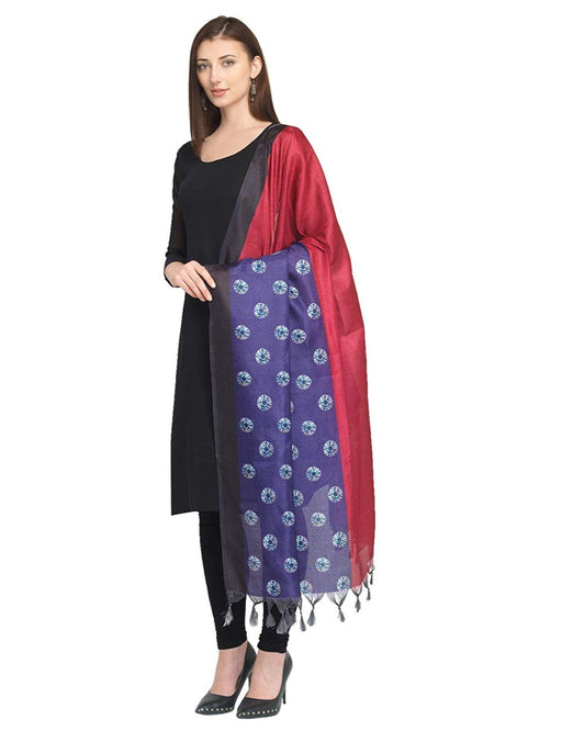 Maroon, Purple Color Bhagalpuri Silk Dupatta only in Bigswipe