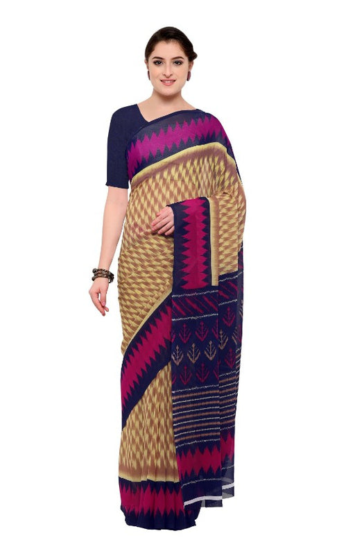 Beige & Brown Color Printed Georgette Saree With Blouse only in Bigswipe