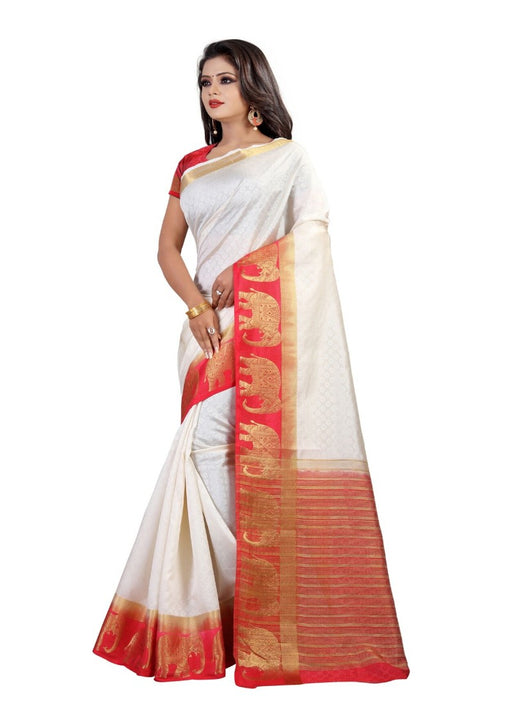 White Color Printed Silk Blend Saree With Blouse