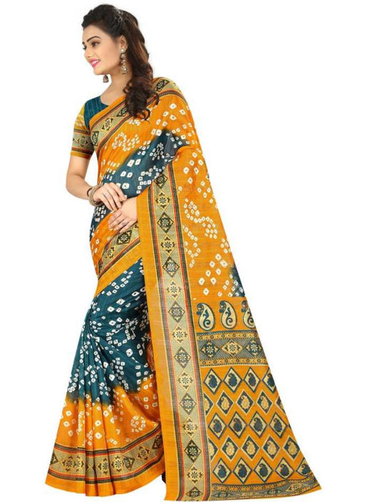 Yellow And Green Color Printed Bhagalpuri Silk Saree With Blouse