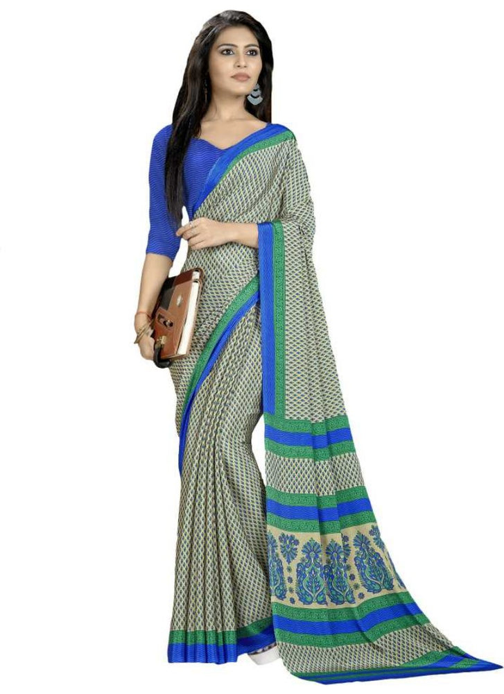 Cream And Blue Color Printed Silk Crepe Saree With Blouse only in Bigswipe