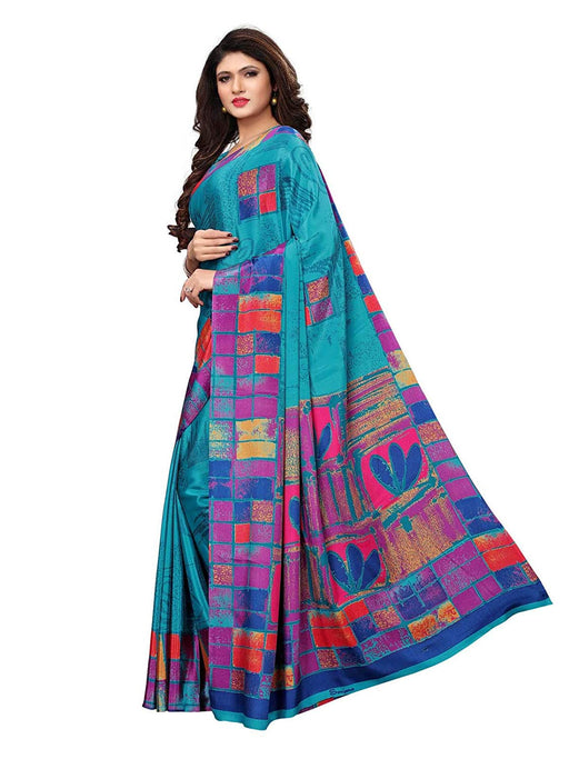 Turquoise, Multi Color Crepe Saree