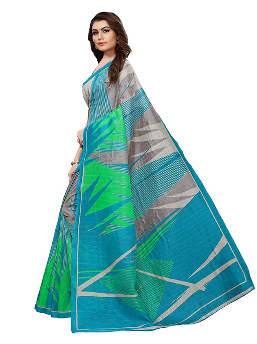 Turquoise, Multi Color Bhagalpuri Silk Saree