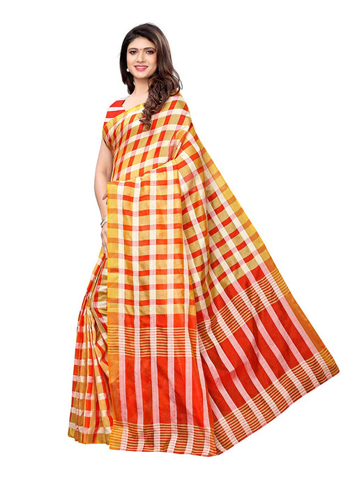 Yellow (Beige), Red Color Poly Silk Saree