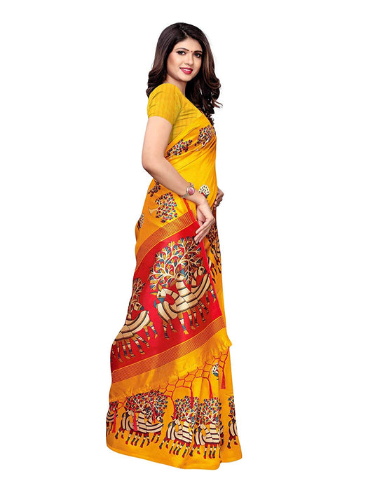 Yellow, Maroon, Multi Color Poly Silk Saree