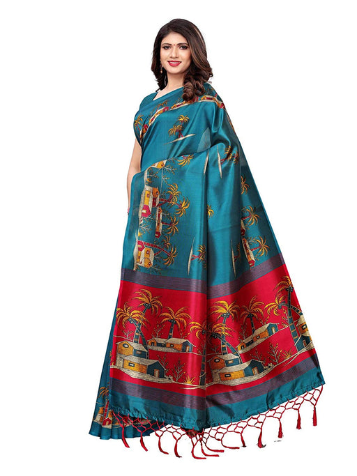 Turquoise, Maroon, Multi Color Poly Silk Saree