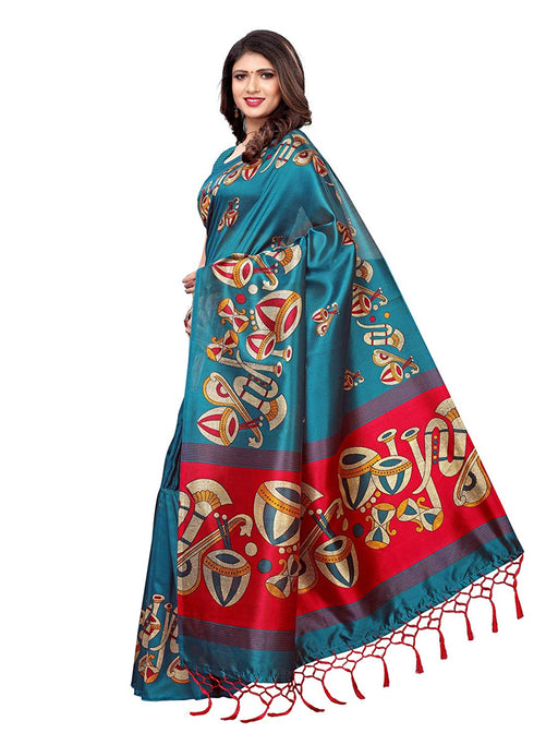 Turquoise, Pink, Multi Color Poly Silk Saree