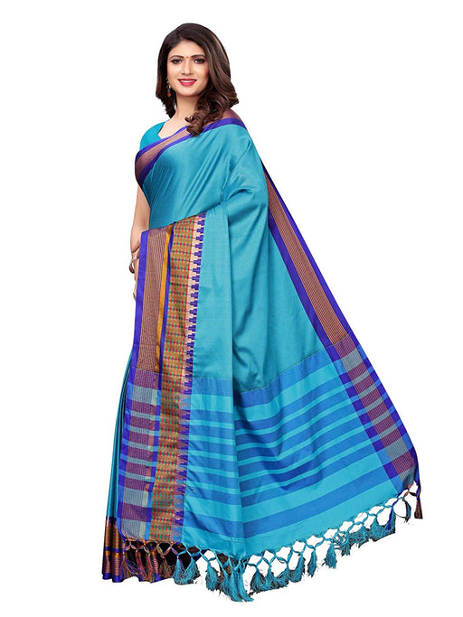Turquoise, Purple Color Poly Silk Saree