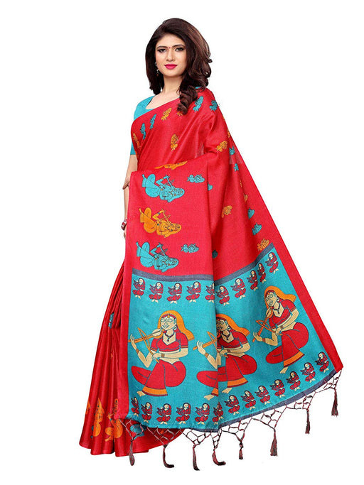 Maroon, Turquoise Color Art Silk Saree only in Bigswipe