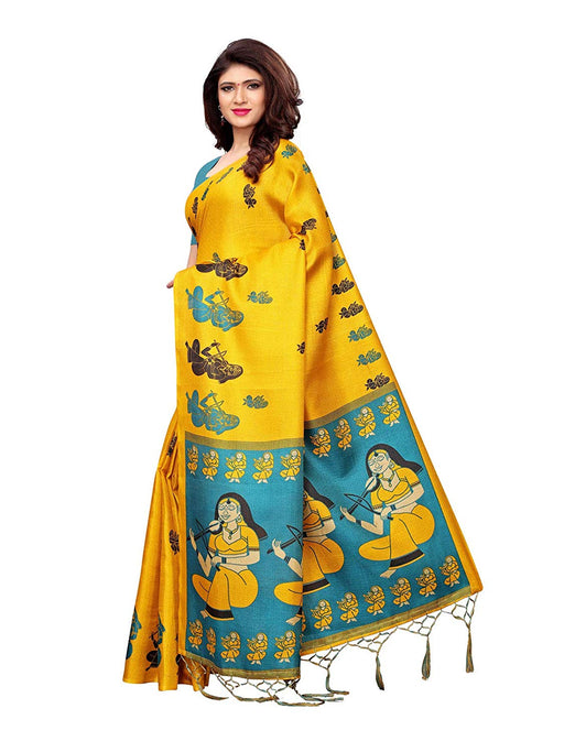 Yellow, Turquoise Color Art Silk Saree