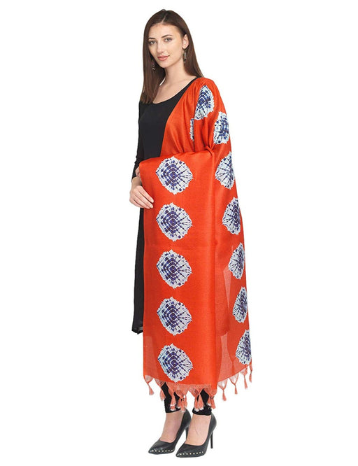 Orange, Purple Color Bhagalpuri Silk Dupatta only in Bigswipe