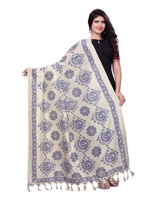 Beige, Navy Blue Color Bhagalpuri Dupatta only in Bigswipe