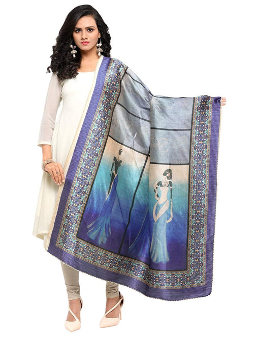 Blue, Grey, Multi Color Chinon Dupatta only in Bigswipe