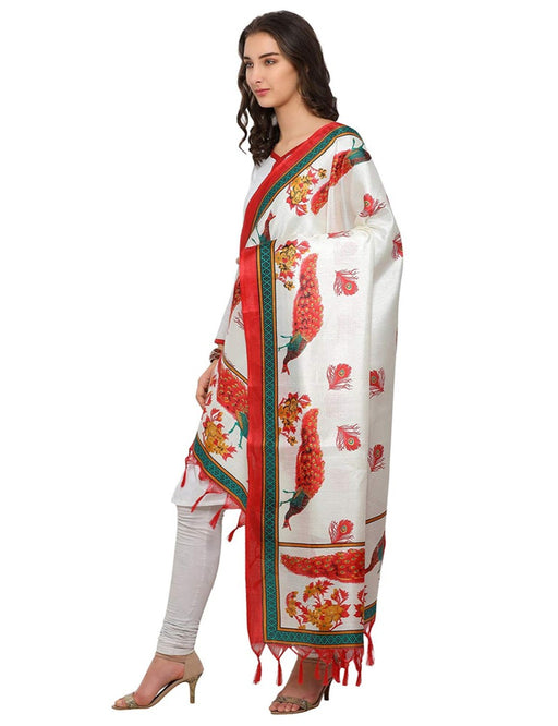 Cream, Red Color Bhagalpuri Dupatta only in Bigswipe