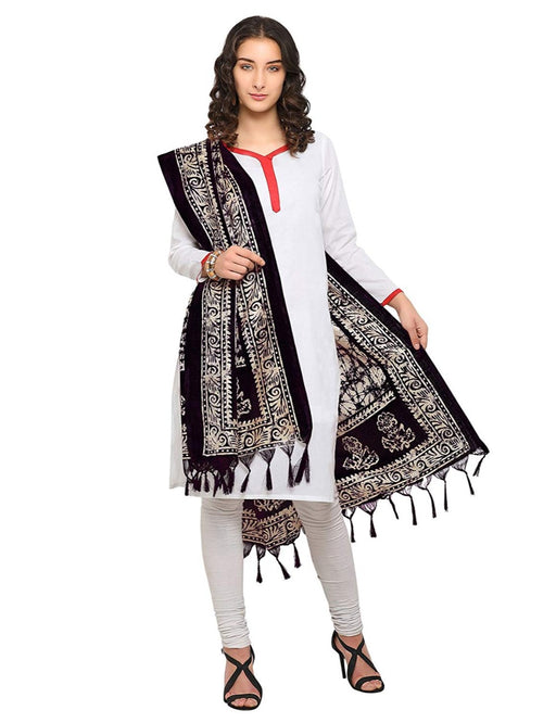 Cream, Black Color Bhagalpuri Dupatta only in Bigswipe
