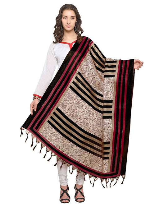 Cream, Pink, Black Color Bhagalpuri Dupatta only in Bigswipe