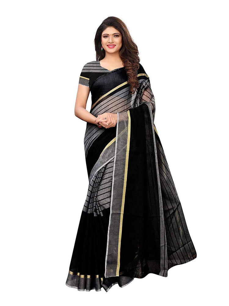 Black Color Cotton Silk Saree only in Bigswipe