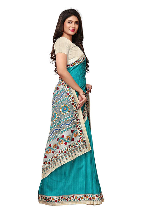 Turquoise, Multi Color Vichitra Silk (Poly Silk) Saree