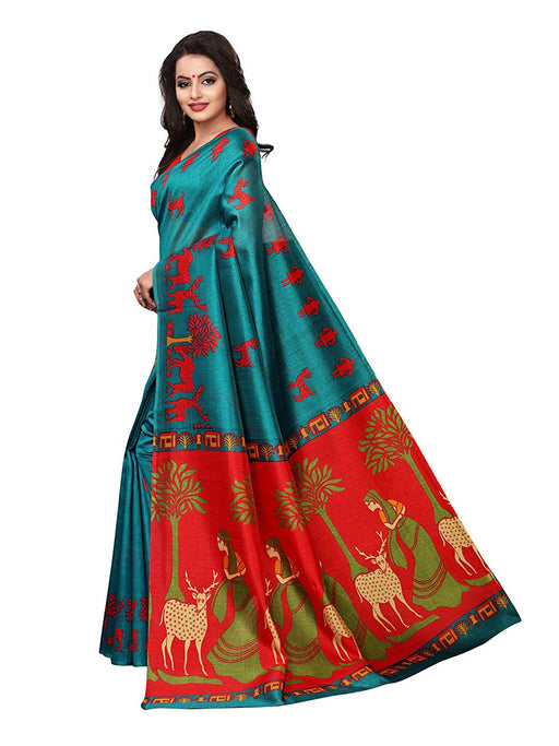 Turquoise Color Poly Silk (Kashmiri Silk) Saree