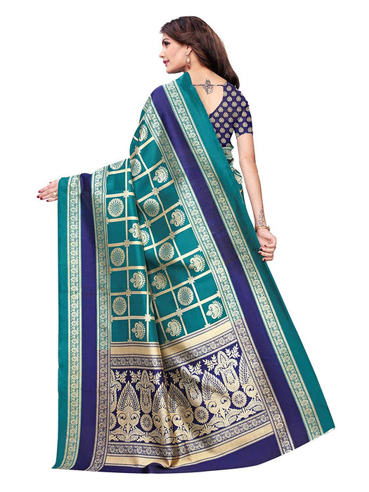 Turquoise, Navy Blue, Multi Color Poly Silk Saree