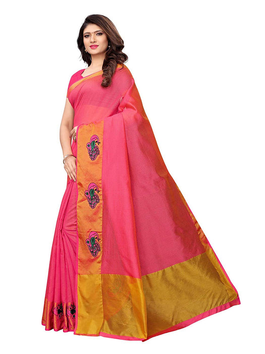 Pink (Carrot Red) Color Cotton Silk Saree only in Bigswipe