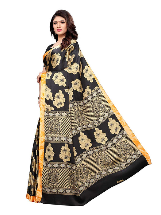 Black, Beige, Orange Color Satin Saree only in Bigswipe