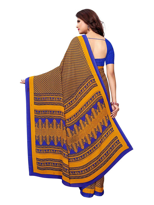 Yellow, Navy Blue, Multi Color Crepe Saree