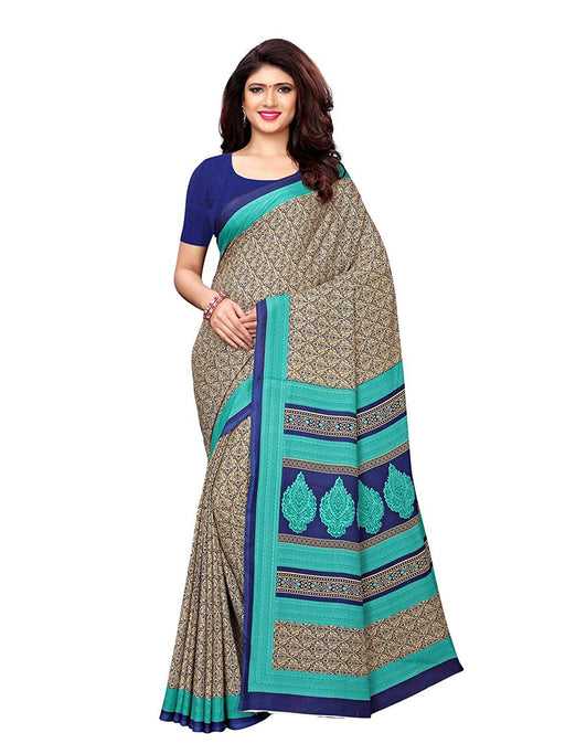 Beige, Navy Blue, Multi Color Crepe Saree only in Bigswipe
