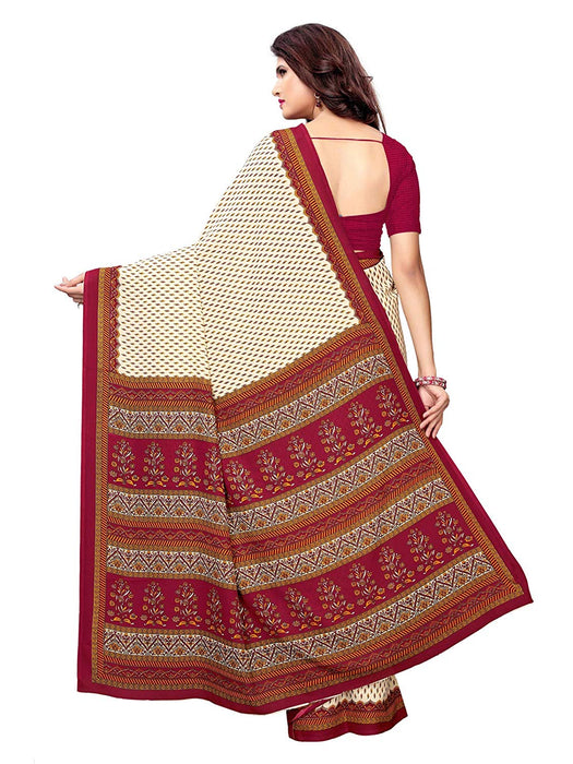 Off White, Maroon Color Crepe Saree only in Bigswipe