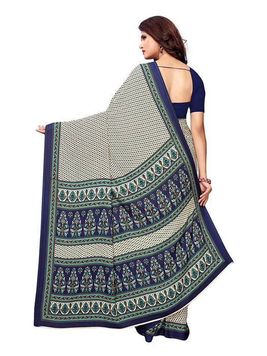Off White, Navy Blue Color Crepe Saree only in Bigswipe