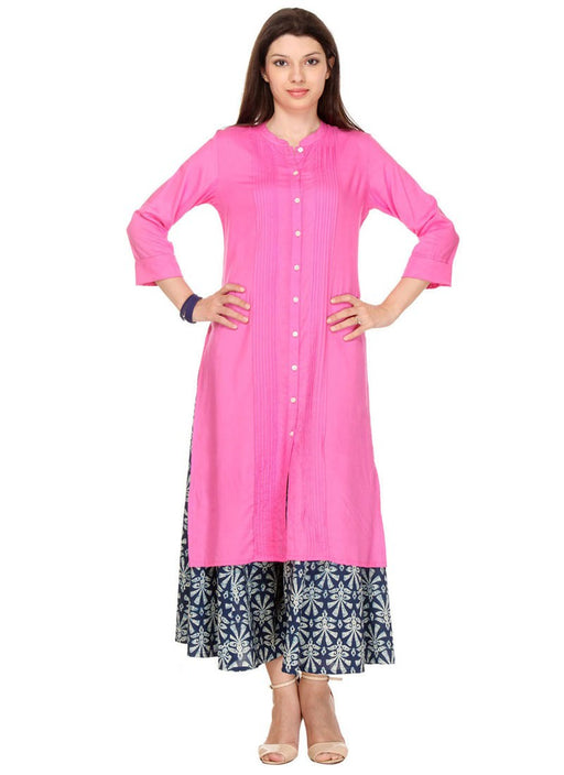 Pink Color Printed,Beads Rayon Kurti only in Bigswipe