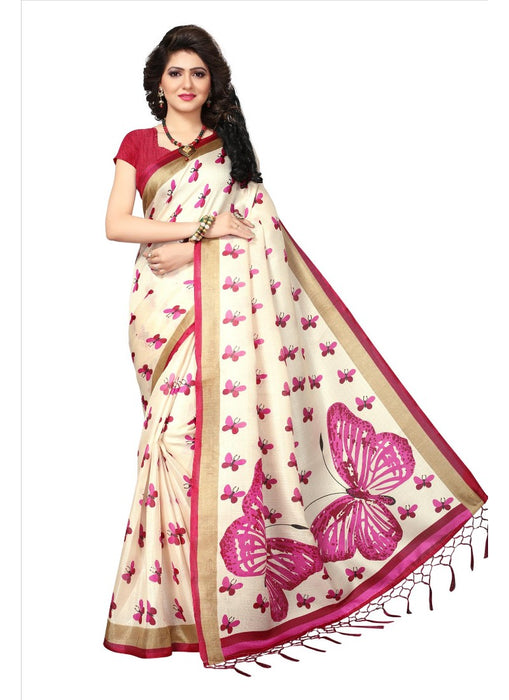Pink Color Printed Khadi Silk Jhalor Saree With Blouse only in Bigswipe