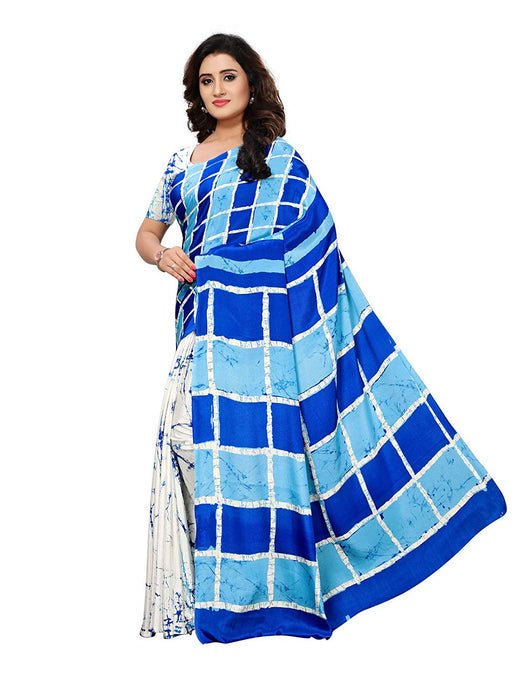 White, Blue Color Crepe Saree