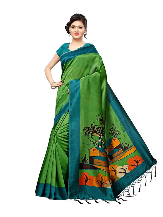 Green, Turquoise Color Poly Silk Saree only in Bigswipe
