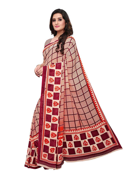 Red, Maroon Color Georgette Saree