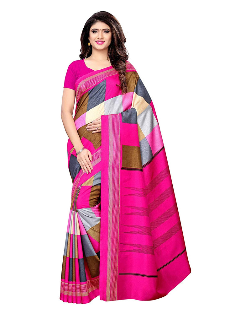 Pink, Multi Color Vichitra Silk (Art Silk) Saree only in Bigswipe
