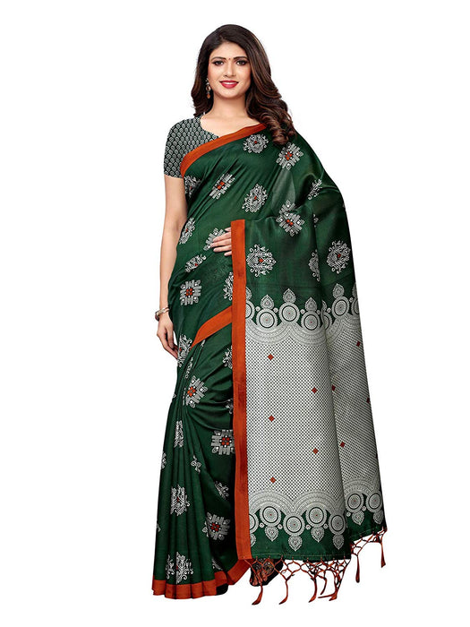 Green, Multi Color Poly Silk Saree only in Bigswipe