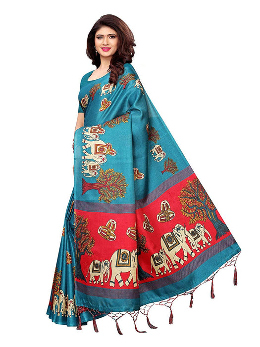 Turquoise, Maroon Color Art Silk Saree